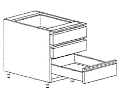 meuble bas à tiroirs à intégrer sous plan de travail