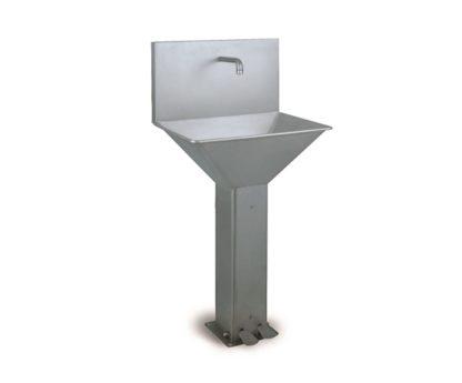 Lave-mains trapézoidal sur pied à pédales